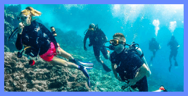 scuba diving with friends