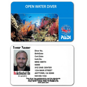 Open Water Certification Card